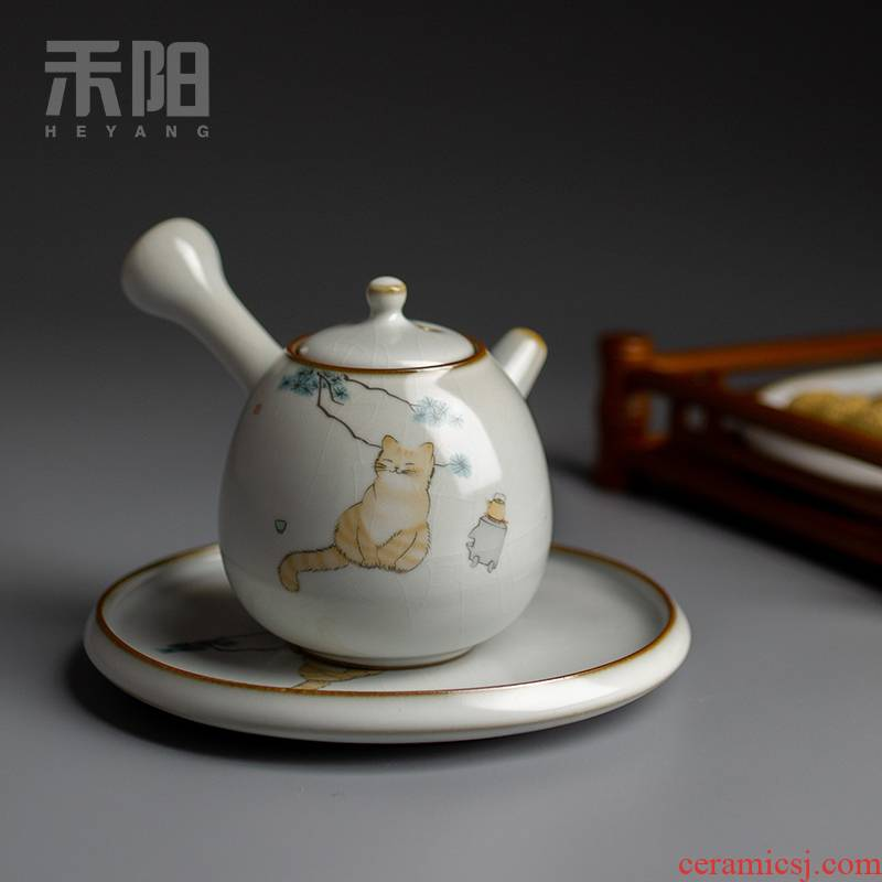 Send Yang your up slicing side pot home filtration ball teapot ceramic teapot Chinese kung fu tea set the cat