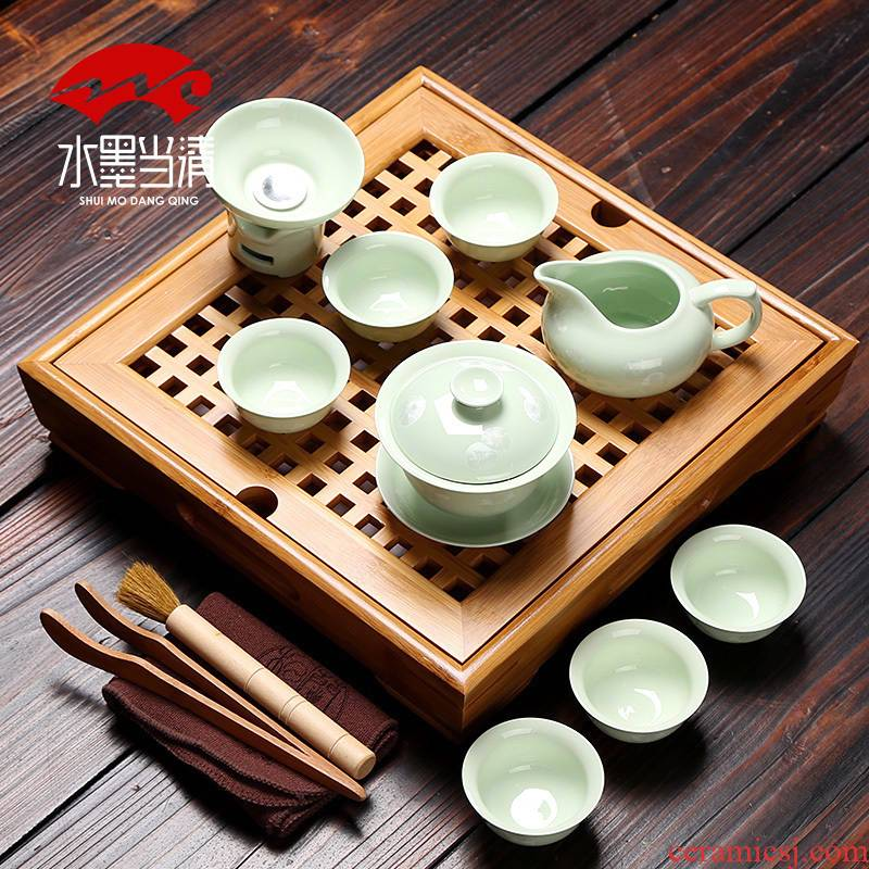 Household mini kung fu tea sets of a complete set of purple sand pottery and porcelain teacup office simple water small square bamboo tea tray