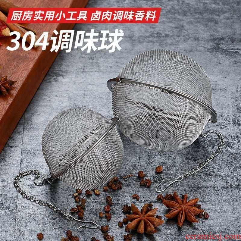 304 stainless steel sauce seasoning bag plastic ball soup boiled meat stew mercifully tea bag filter ball big treasure