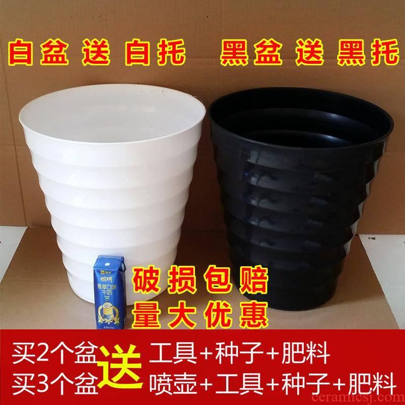 Thickening of heightening white plastic flower POTS imitation ceramic high heavy round flower pot thread flowerpot plastic