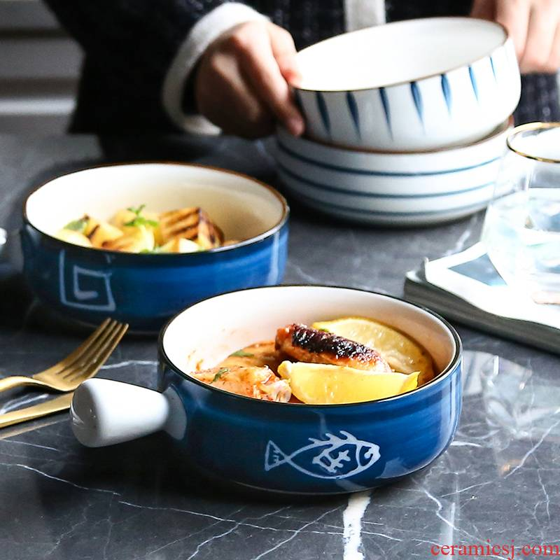 WUXIN Japanese ceramic salad bowl creative household handle for breakfast mercifully rainbow such always move oven baked bread and butter