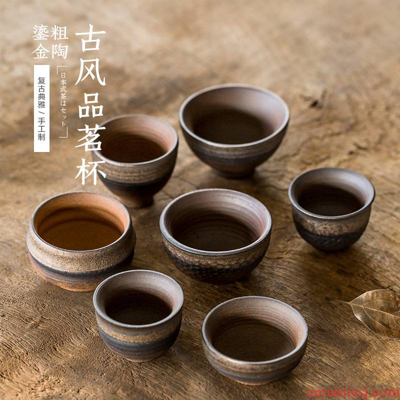 Archaize ceramic sample tea cup gold coarse pottery master kung fu tea cup hammer Japanese single cup a cup of tea cups