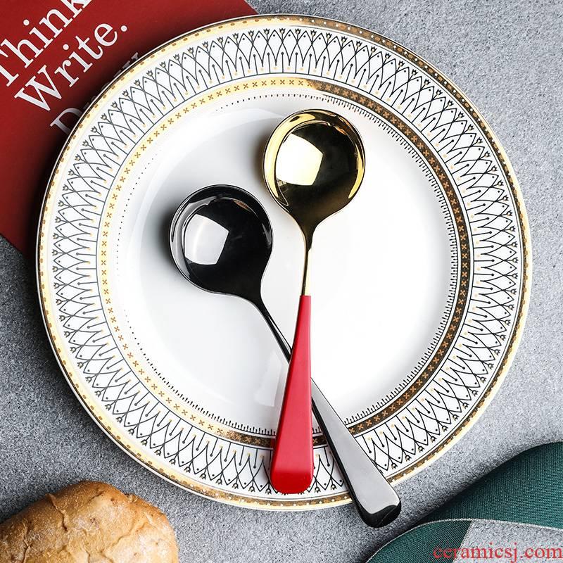 Choi pomelo high - grade stainless steel coffee spoon, Korean small round head sweet milk tea spoon, spoon, coffee spoon stirring spoons