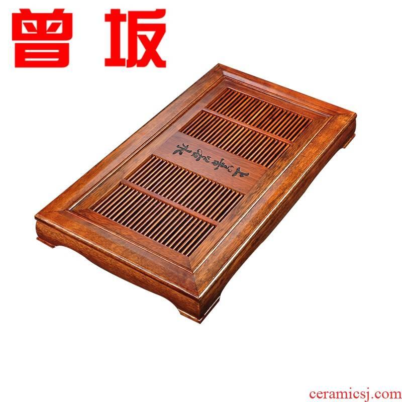 The Who -- solid wood tea tray tea family tea set contracted large rectangular wooden kunfu tea tea sea