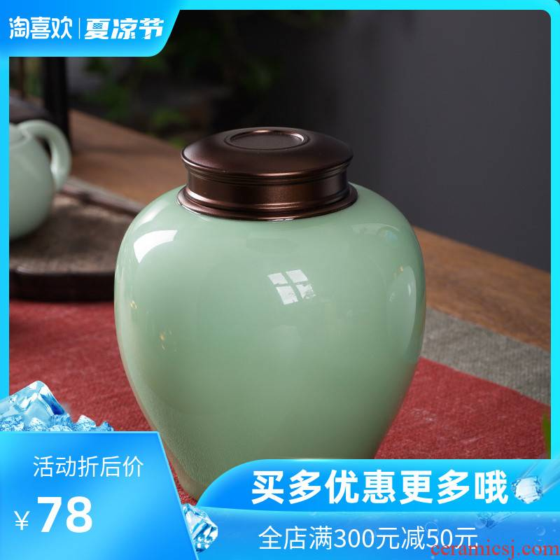 The Crown chang caddy fixings large creative fashion household ceramic POTS kung fu tea set seal pot store tea metal cover