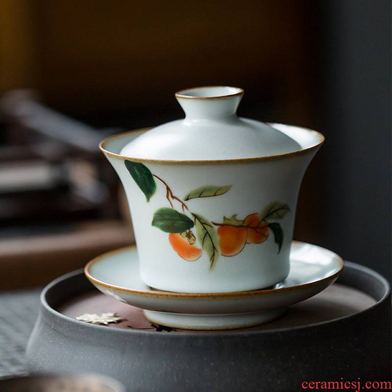 Your up three to make tea tureen hand - made ceramic cups of a single large bowl household retro new one bowl kung fu tea set