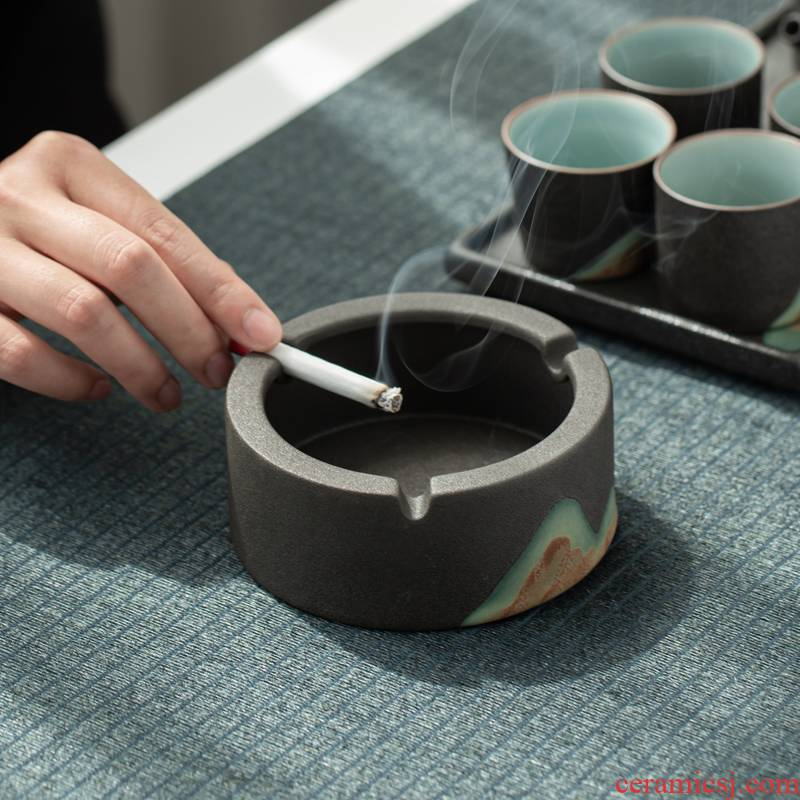Distant mountains creative move ceramic ashtray grind arenaceous black pottery home sitting room tea wind fly ash ashtray