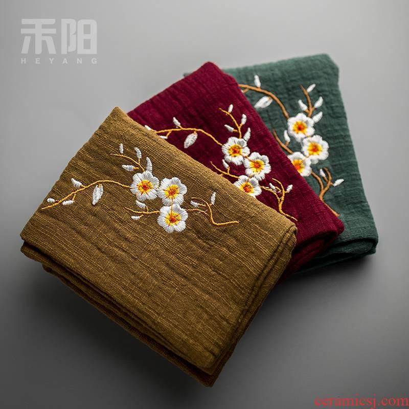 Send Yang bibulous thickening tea towel embroidery name plum quadrate tea tea tea accessories restoring ancient ways is plain coloured cotton and linen cloth tea
