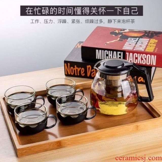 The Heat - resistant explosion - proof large - capacity glass teapot camellia tea pot office rushed home kung fu tea tea set