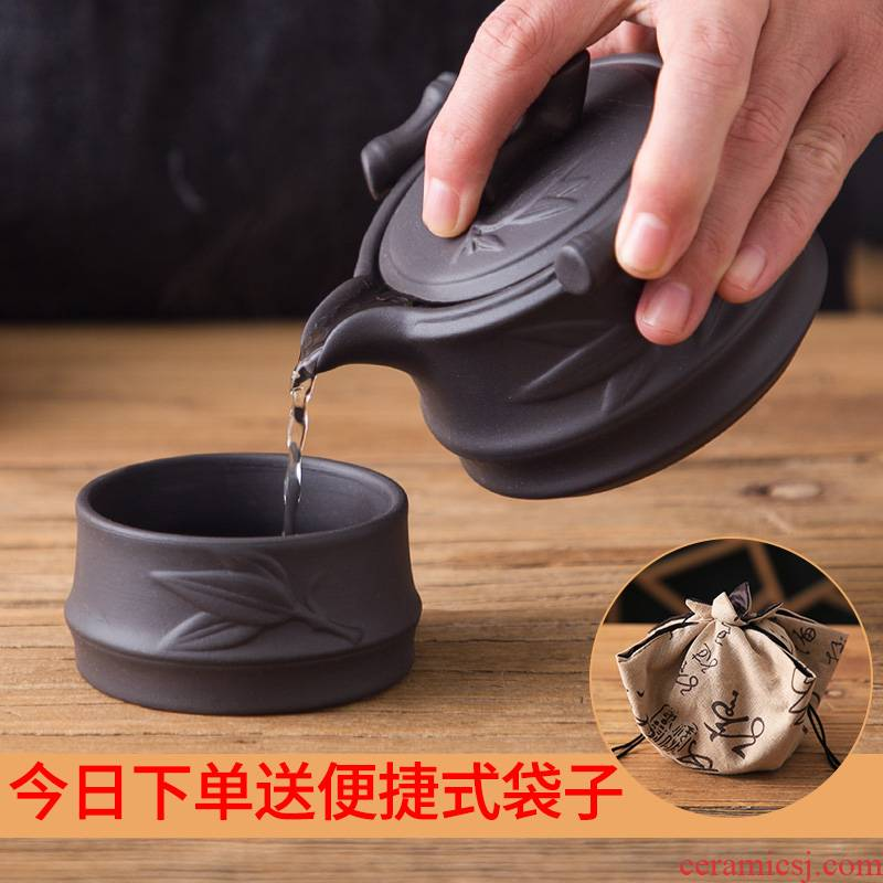 Single purple crack cup portable a pot of a simple and easy to receive small office tea tea set