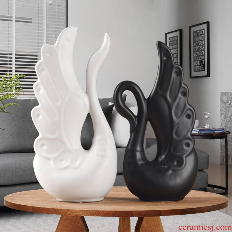 Nordic ceramic home furnishing articles wine sitting room bedroom TV ark, elegant light picking long chicago-brewed goose feather decoration gifts furnishing articles