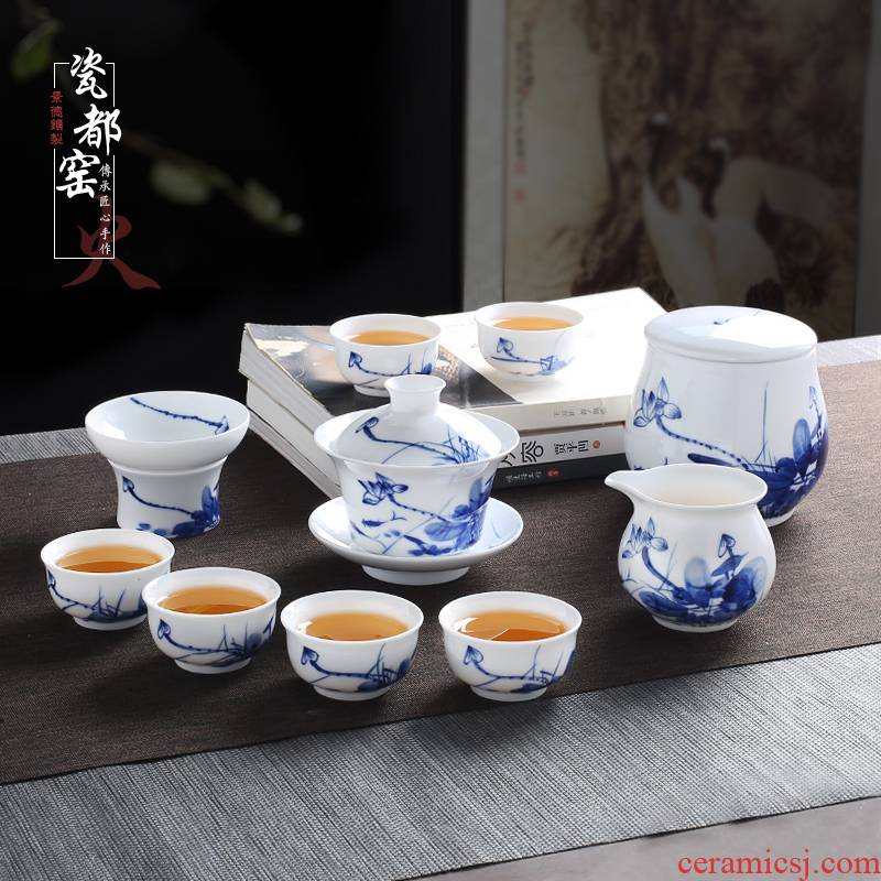 Jingdezhen blue and white porcelain tea set suit household tureen tea cup contracted kung fu tea set office of a complete set of living room