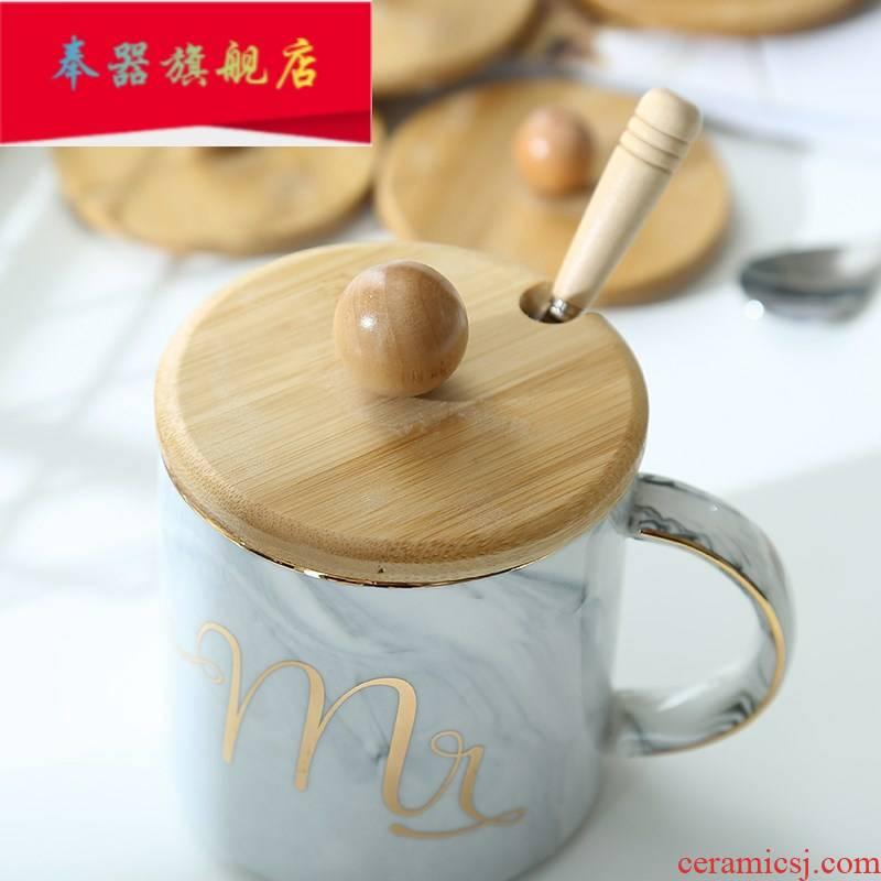 Circular general ceramic glass lid with top lid wooden keller cup spoons solid stainless steel spoon handle