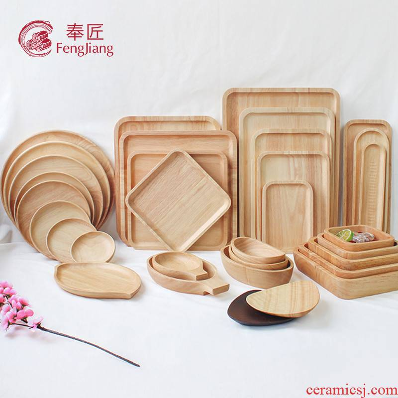 Japanese wooden pallet rectangle plate solid wood tea tray wood plate wood plate wooden wooden plate small plates