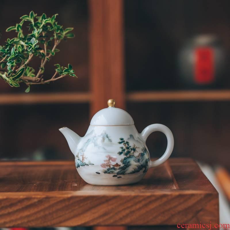 Lane. Jingdezhen pure manual pastel hand - made scenery small pear pot teapot kung fu tea set