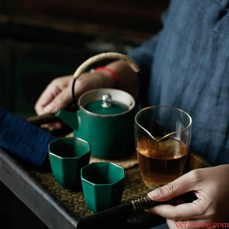 ShangYan Japanese girder pot of tea set a pot of restoring ancient ways is the set of 2 cups little ceramic teapot teacup kung fu tea set