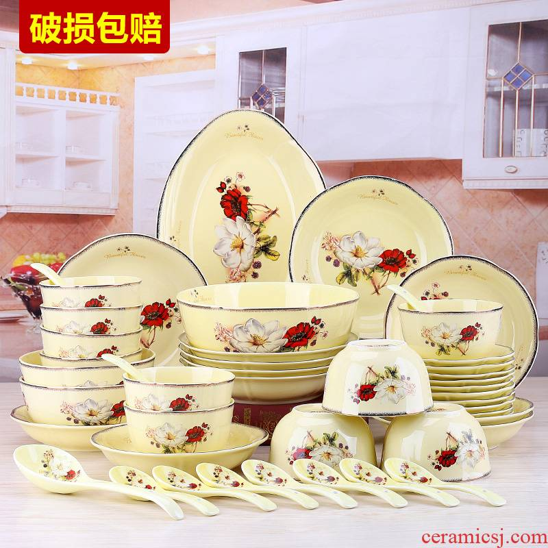 European dishes suit light six sets of key-2 luxury home ten bowl dish dish special composite ceramics microwave bowl plate 4 people