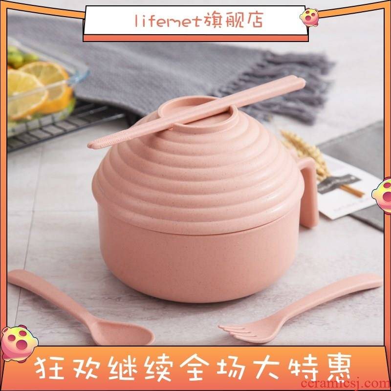 Use a delicate and then carry on the surface of the mercifully bowl chopsticks cover a large Japanese straw tableware, installed the student 's dormitory