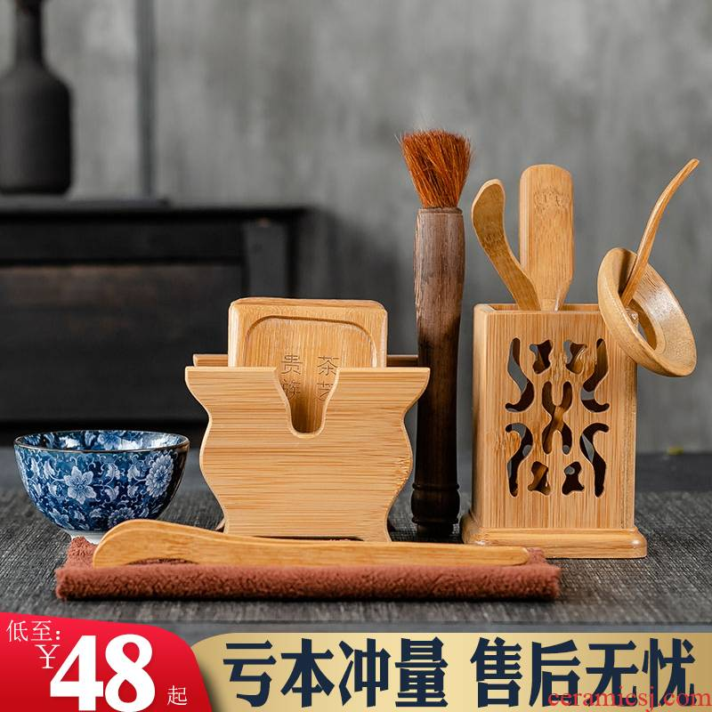 6 gentleman Nanzhu tea sets accessories tea cup mat real MuZhu kung fu tea tea tea tray was furnishing articles