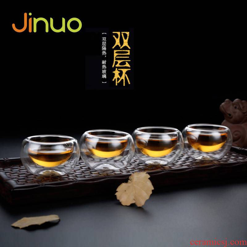 Heat resistant double deck glass cups thickening contracted transparent sample tea cup kung fu noggin mini individual cup home
