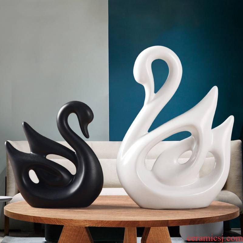 Nordic contracted household act the role ofing is tasted, black and white swan furnishing articles wine sitting room adornment wedding present ceramic arts and crafts