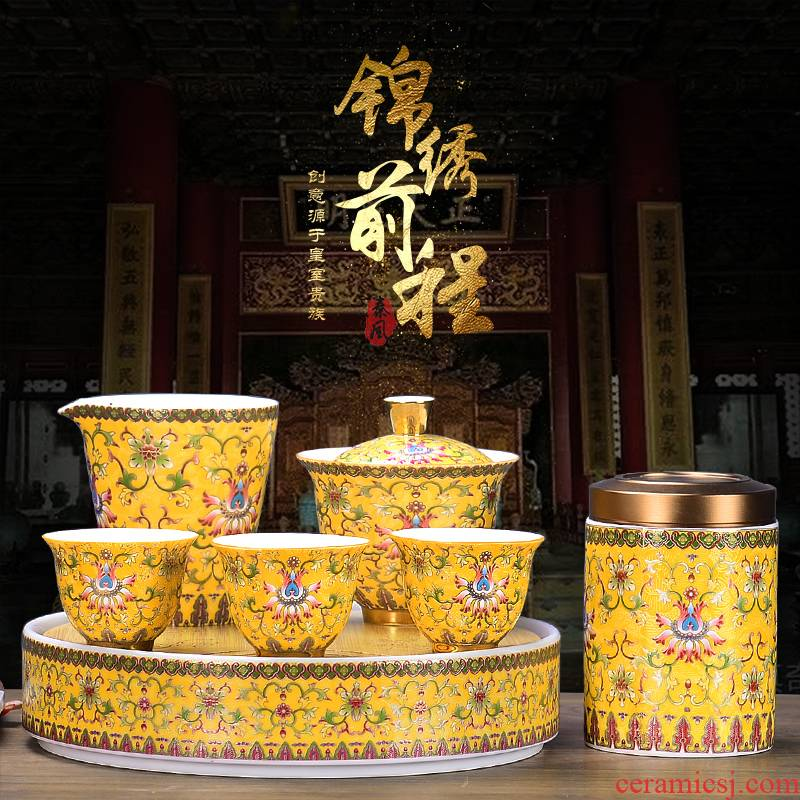 It still lane colored enamel kung fu tea set, ceramic tureen fair keller cups of a complete set of household gift box