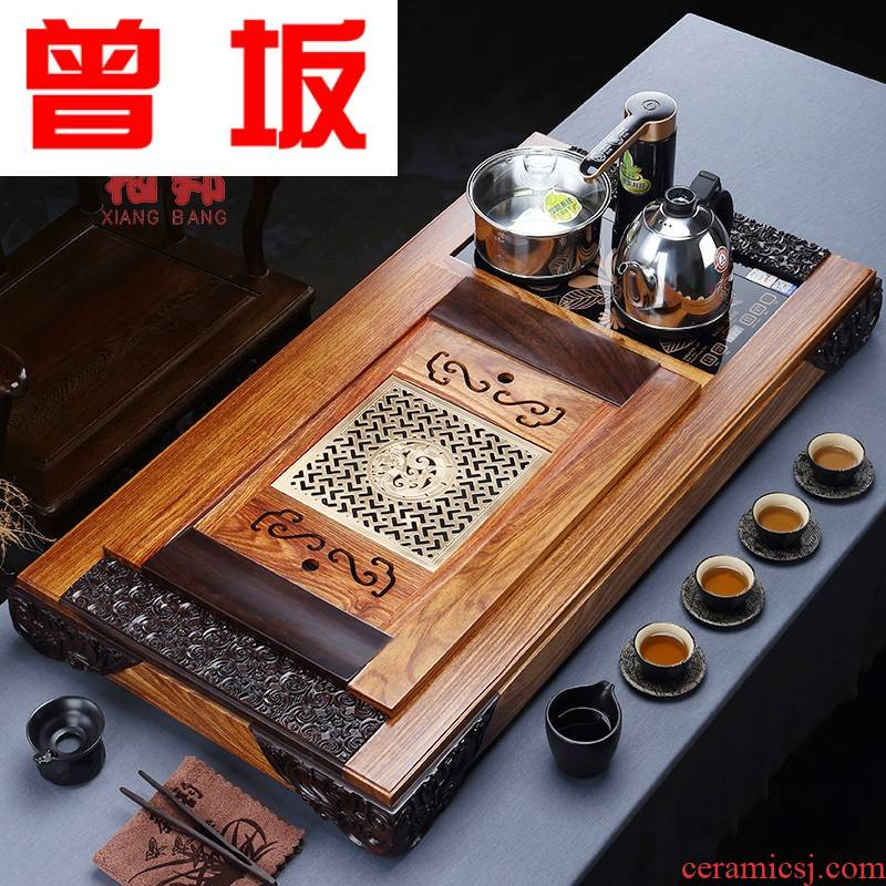 Once sitting by the pear tea tray ebony kung fu tea set four one extra large solid wood drainage of a complete set of the saucer