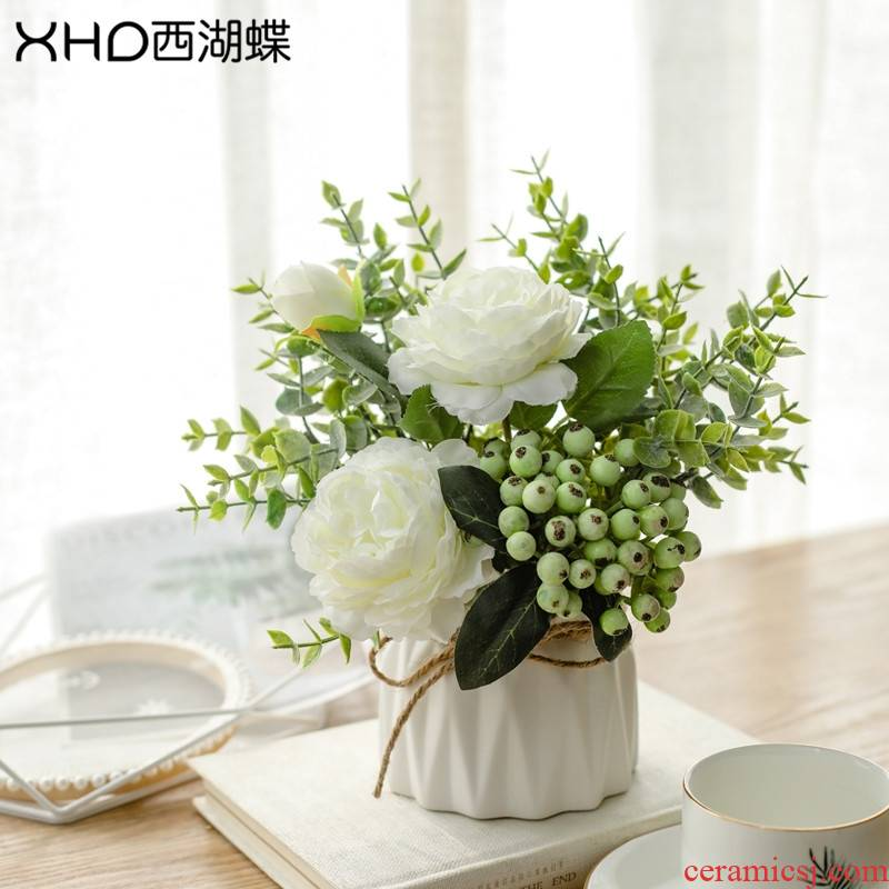 A String of guest bouquets of flowers sitting room place fake flowers fresh Nordic ceramic decoration table small potted flower art