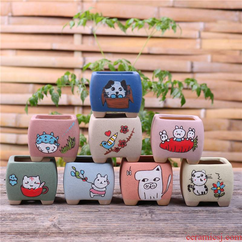 Basin of Chesapeake hand - made mini ceramic flower pot, fleshy special offer a clearance package mail small lovely delicate cartoon thumb Basin