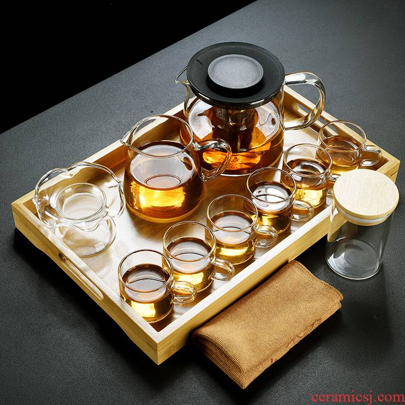 Old &, transparent glass tea set suit household kung fu tea cups, Japanese contracted tray teapot tea tray