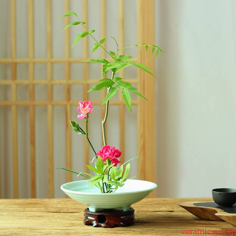 Ancient flow hin plastic flower implement melamine imitation porcelain flowerpot zen three - legged bowl of Japanese sword in mountain flower arranging would ware