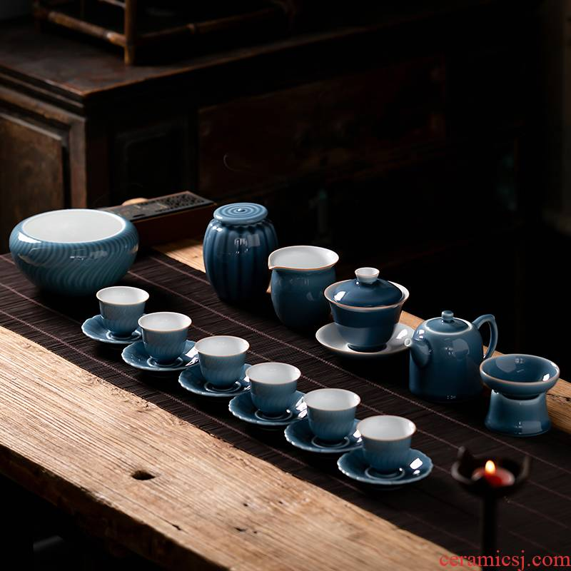 Fujian chong ji blue glaze kung fu tea set suit Japanese household ceramics 3 tureen teapot tea pot of a complete set of cups