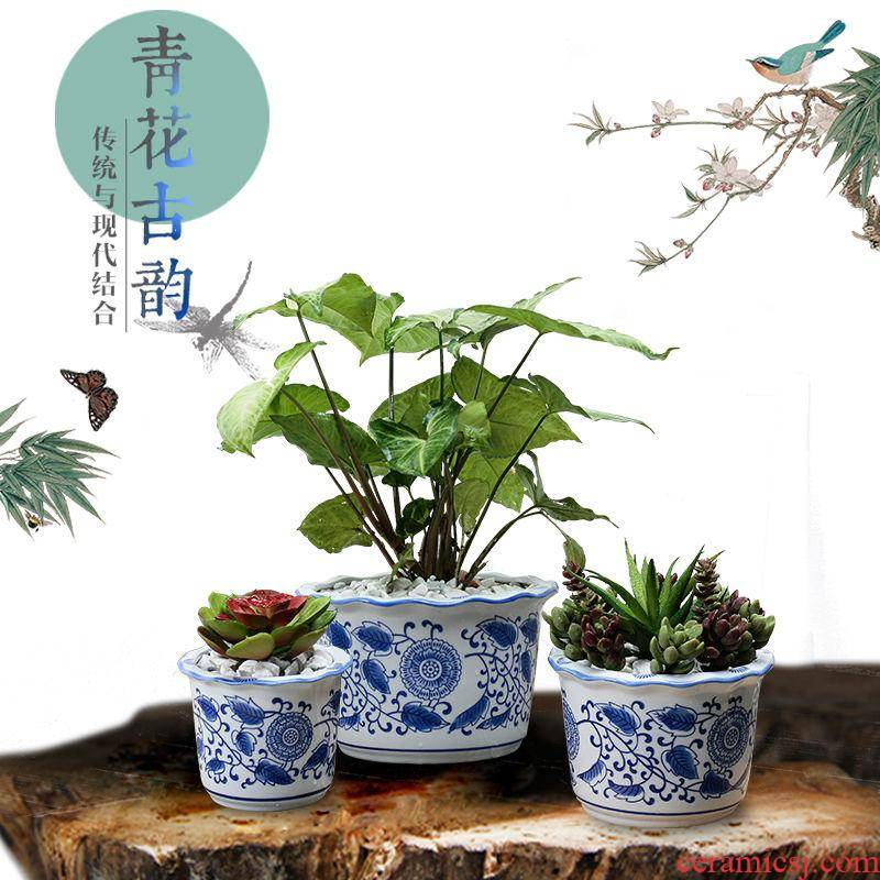 Classic blue and white porcelain pot Chinese wind ceramic flower pot medium plant bonsai POTS potted indoors, fleshy
