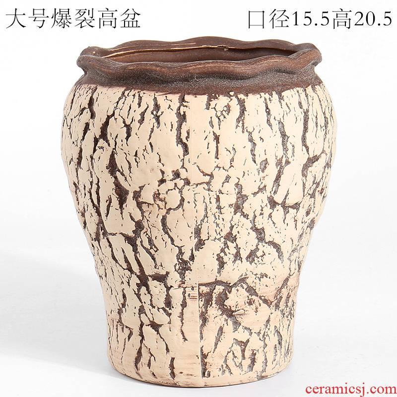 Large manual burst through restoring ancient ways with ceramic pottery basin of high black mage old running of creative move fleshy flower pot