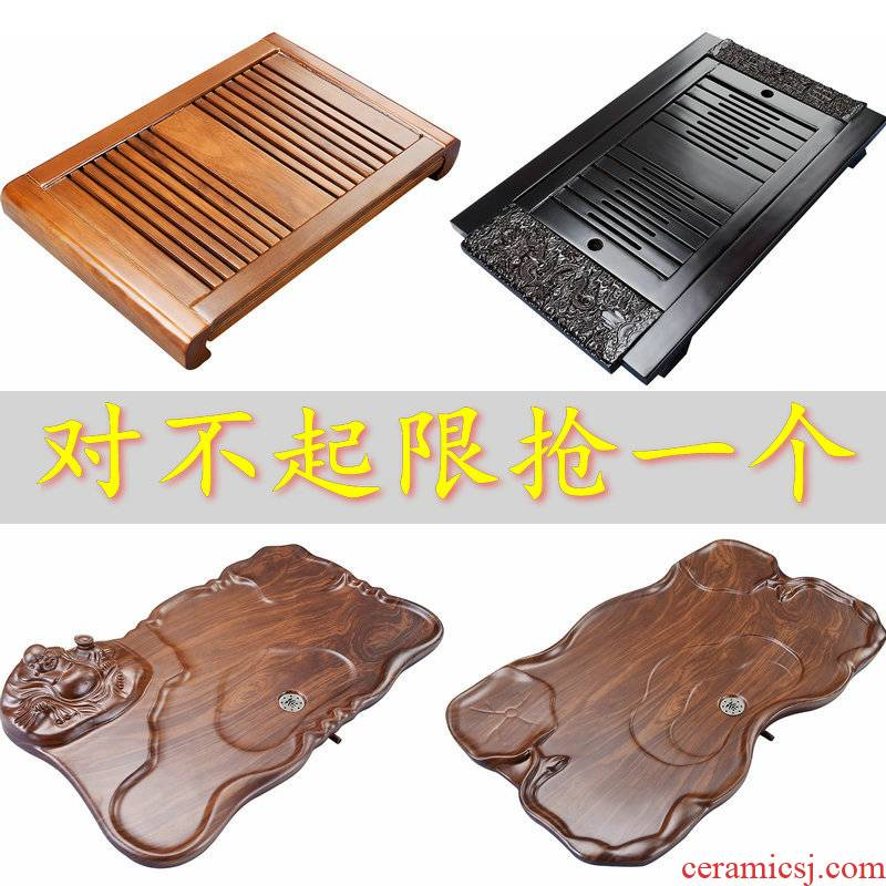 Porcelain god modern large real wood tea tray machine of Chinese style household contracted tea tray drawer drainage mini tea sea