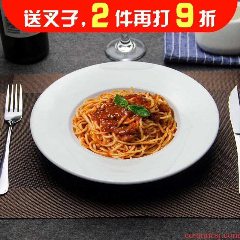 Ceramic western soup plate spaghetti bowl round dish straw use western - style flying saucer plate of pasta dish of pasta dishes