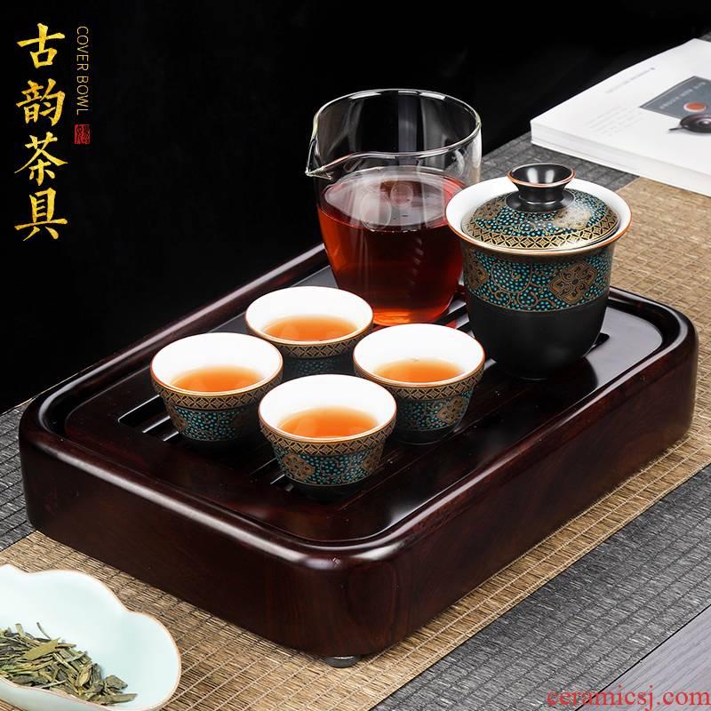 Artisan fairy portable travel kung fu tea set ceramic a pot of four bags is suing travel car crack cup