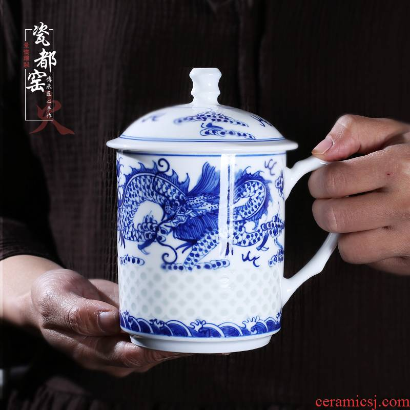 Office of jingdezhen blue and white and exquisite hand - made glass with cover the dragon cup household ceramics business and a cup of tea cup