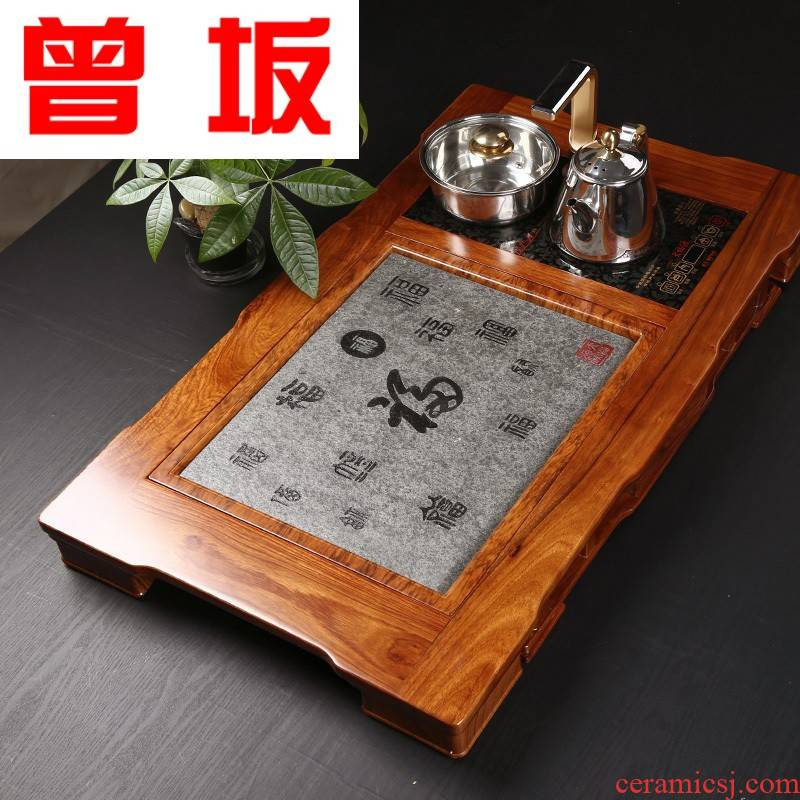 The Who -- solid wood sharply stone tea tray with induction cooker tea saucer dish hua limu kung fu tea set home