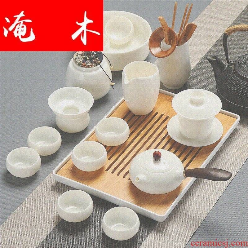 Submerged wood ma did not suit household high tea art contracted white jade teapot, tea sets porcelain side put the lid bowl of tea cups