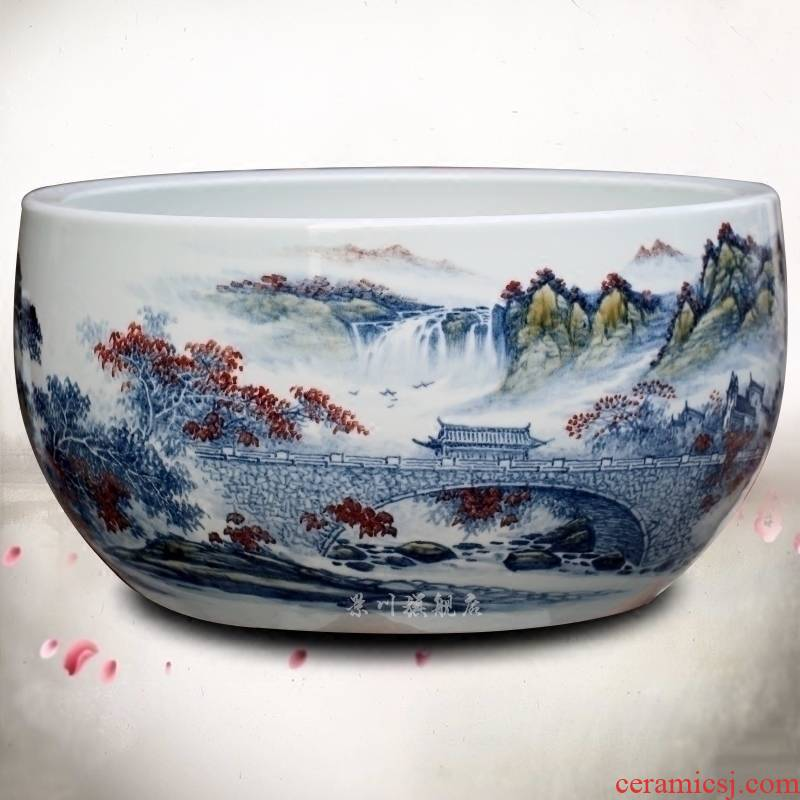 Jingdezhen ceramic goldfish bowl hand - made landscape painting fish bowl the tortoise cylinder home sitting room office desktop furnishing articles