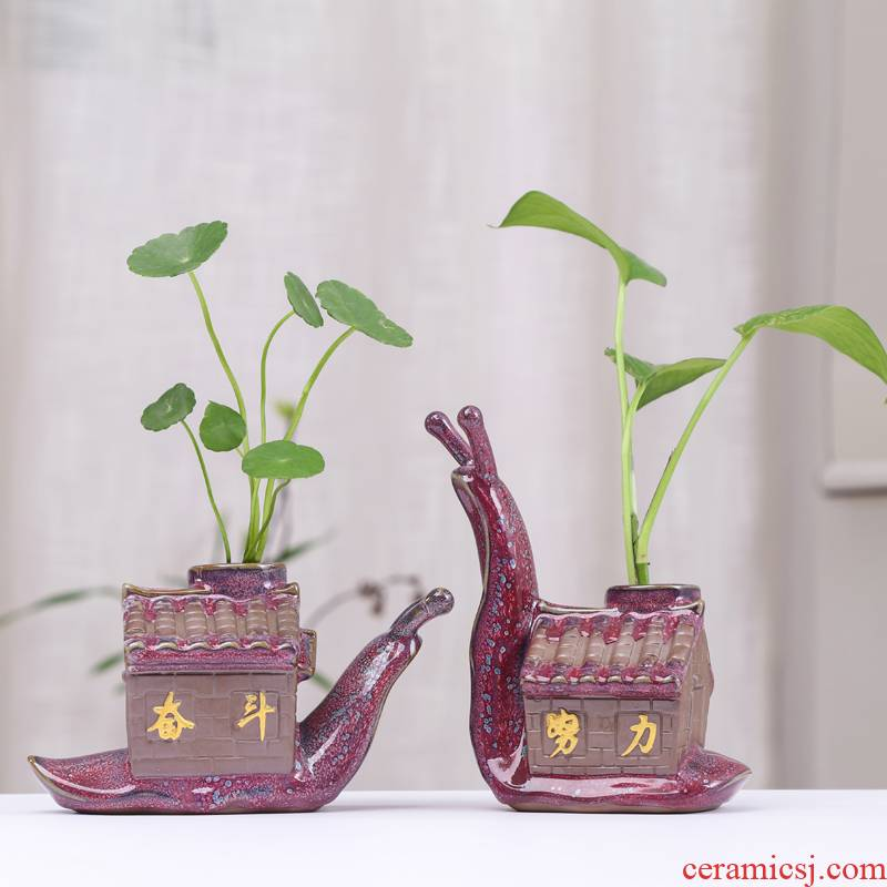 Chinese cartoon copper money plant grass hydroponic flower pot ceramic creative move aquatic the plants vessel restoring ancient ways without hole