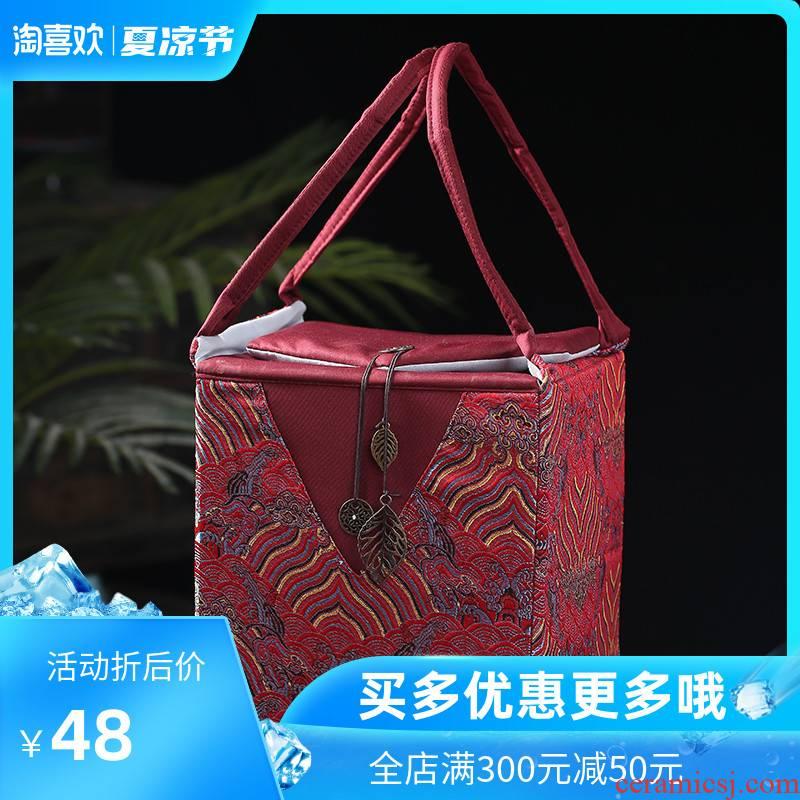 Back economic prosperous gift box the tea pot single pot pot box cloth embroidery gift box