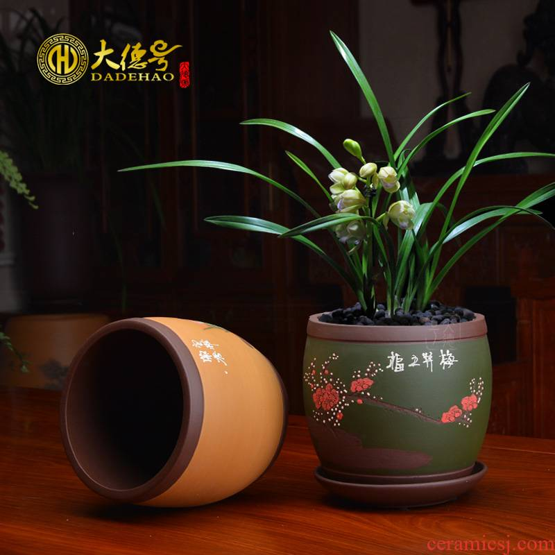 The purple sand flowerpot with tray was rich tree asparagus The plants potted bracketplant, fleshy green plant carved painting by patterns