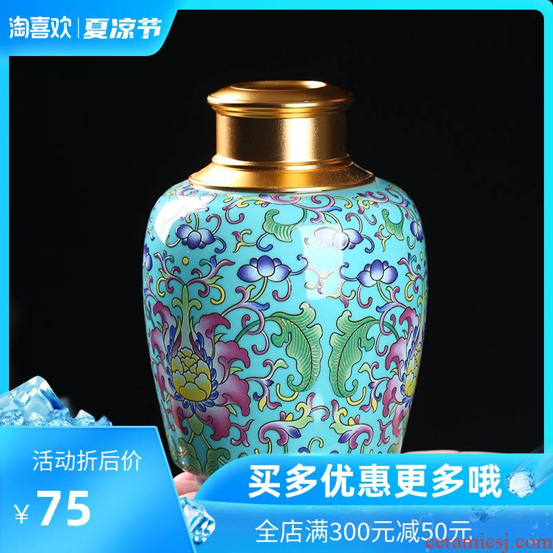 Caddy fixings ceramic crown, the double cover a single seal pot home is suing colored enamel POTS storage trumpet tea urn