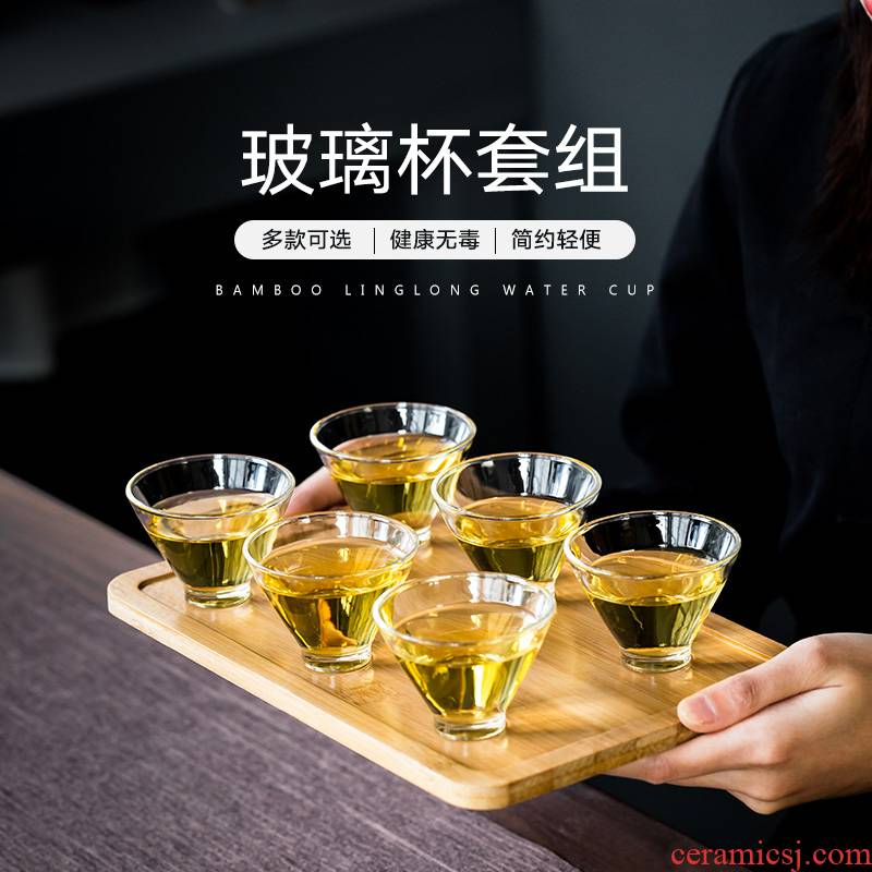 Cups heat - resistant glass sample tea cup set of single CPU kung fu tea set 6 contracted with the master cup tray