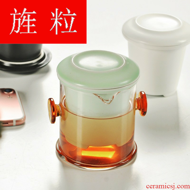 With continuous grain up black tea tea ware travel suit ears tank filter glass ceramic pot cup shock wave