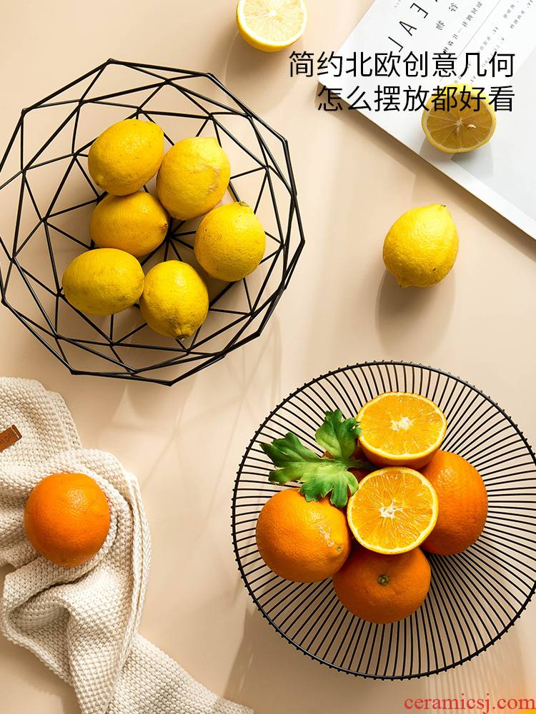 Nordic fruit bowl, wrought iron, big fruit basin snacks to receive domestic fruit basket basket creative I and contracted sitting room tea table
