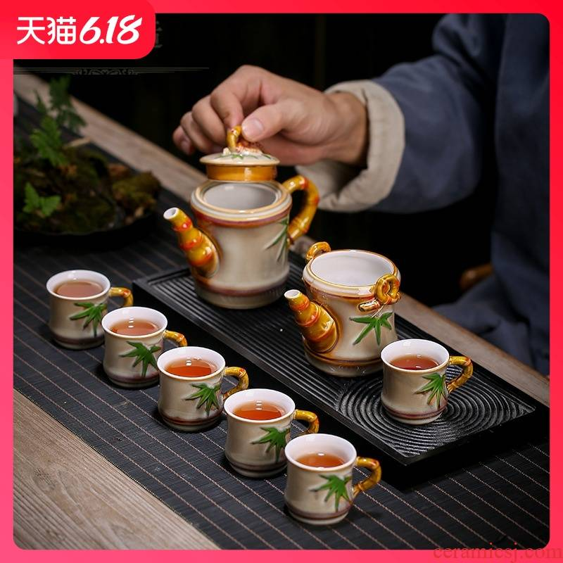 Guest section optimal variable glaze corrugated high resistant ceramic tea set the opened new teapot tea gift box the tea cups