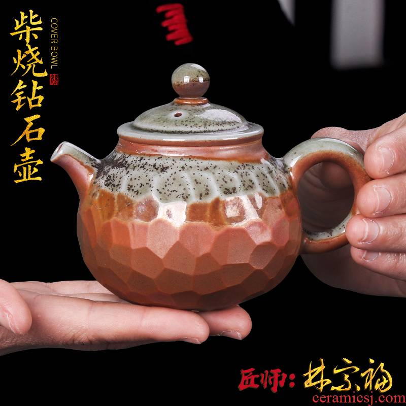 The Master artisan fairy Lin Zongfu to burn pot of single pot of natural dust glaze checking household kung fu tea teapot